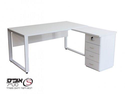 שולחן מחשב לירי -סט-1.60 בלבן