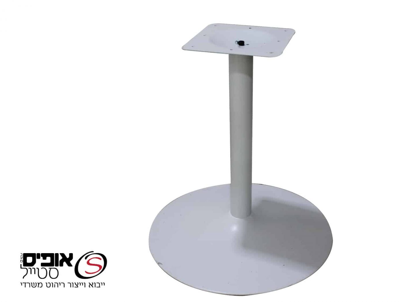 שולחן ישיבות עגול רגל פיצה לבנה